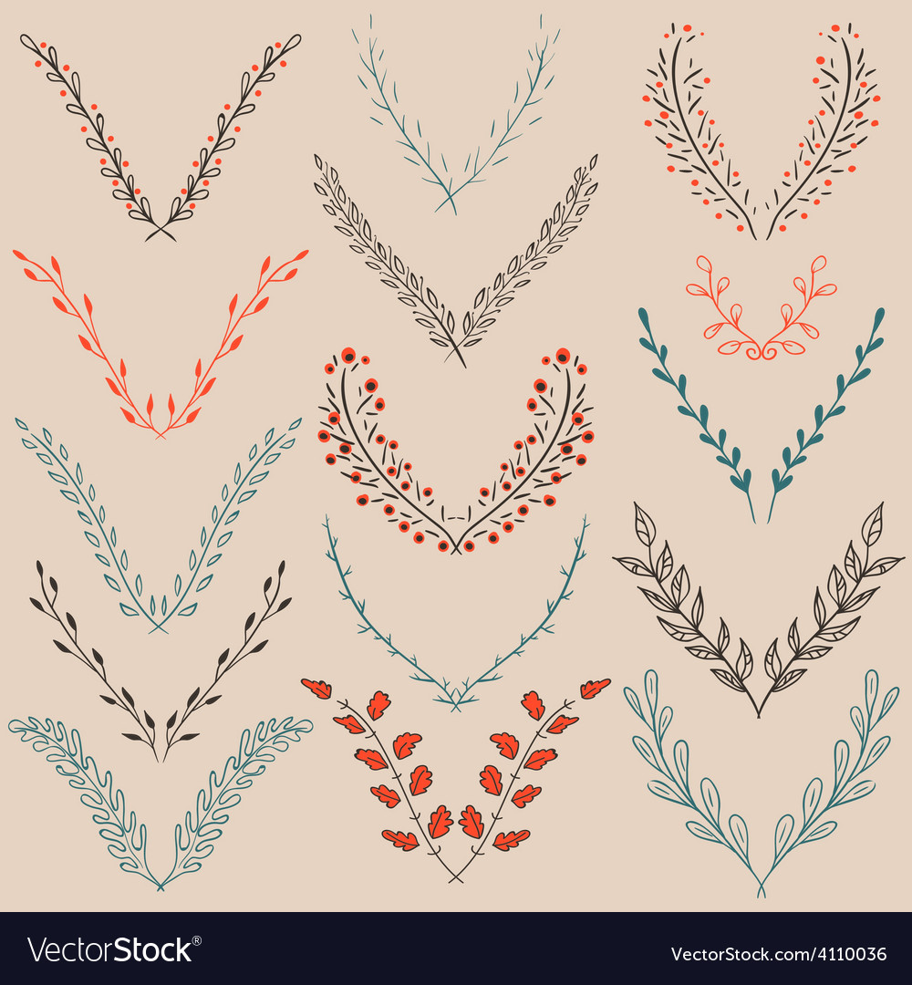 Set of graphic floral design elements vector