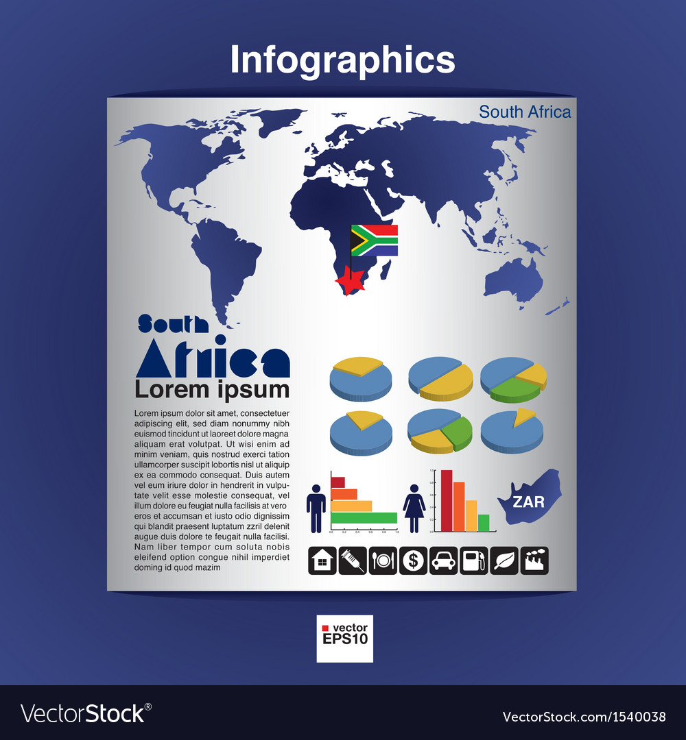 Infographic map of south africa eps10 vector