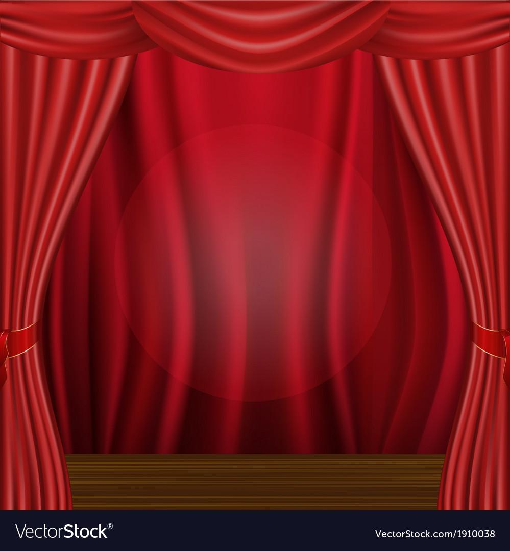 Wood scene and curtain vector