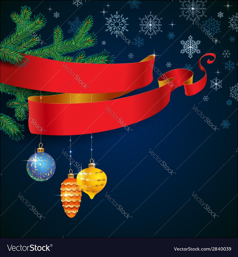 Ribbon christmas blue vector