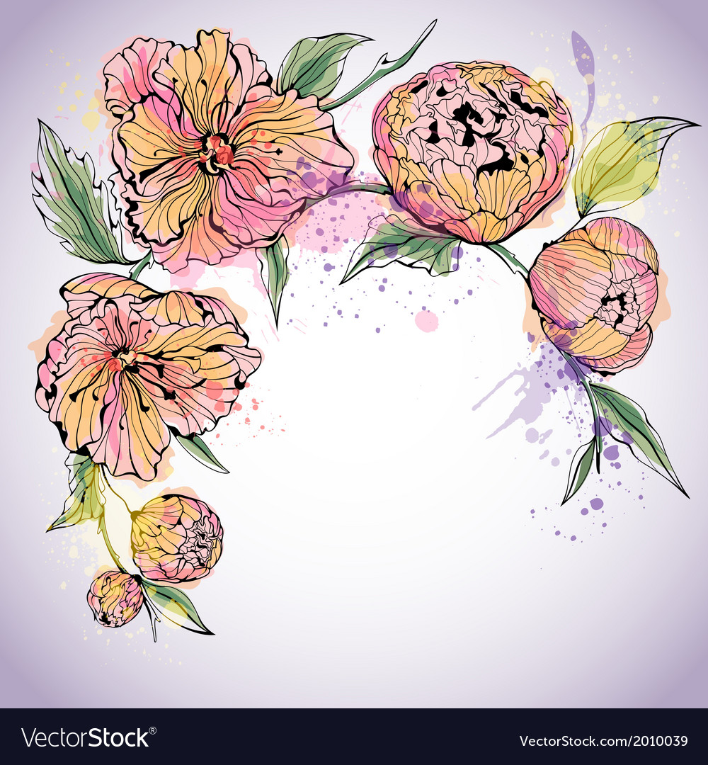 Violet background with watercolor peony flowers vector