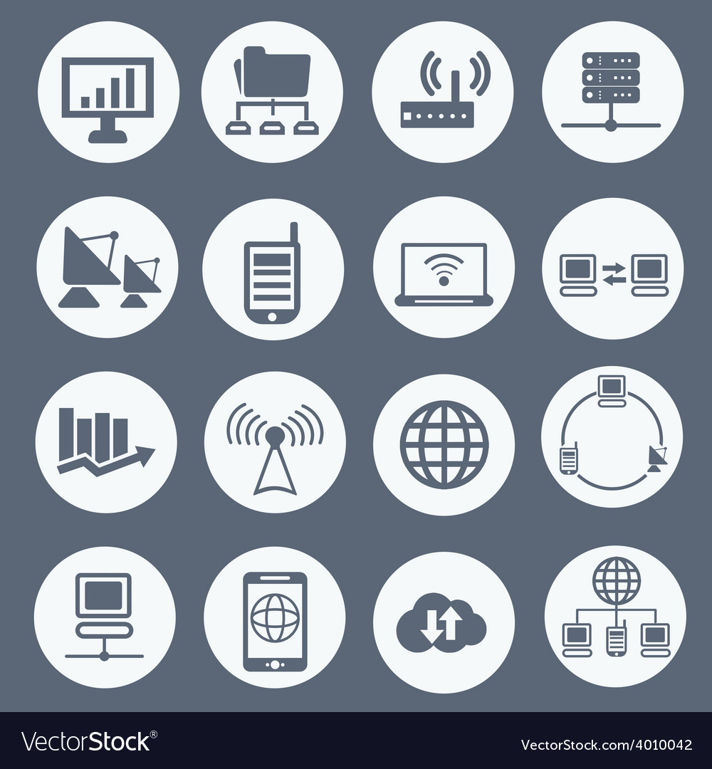 Communication and network icon set vector