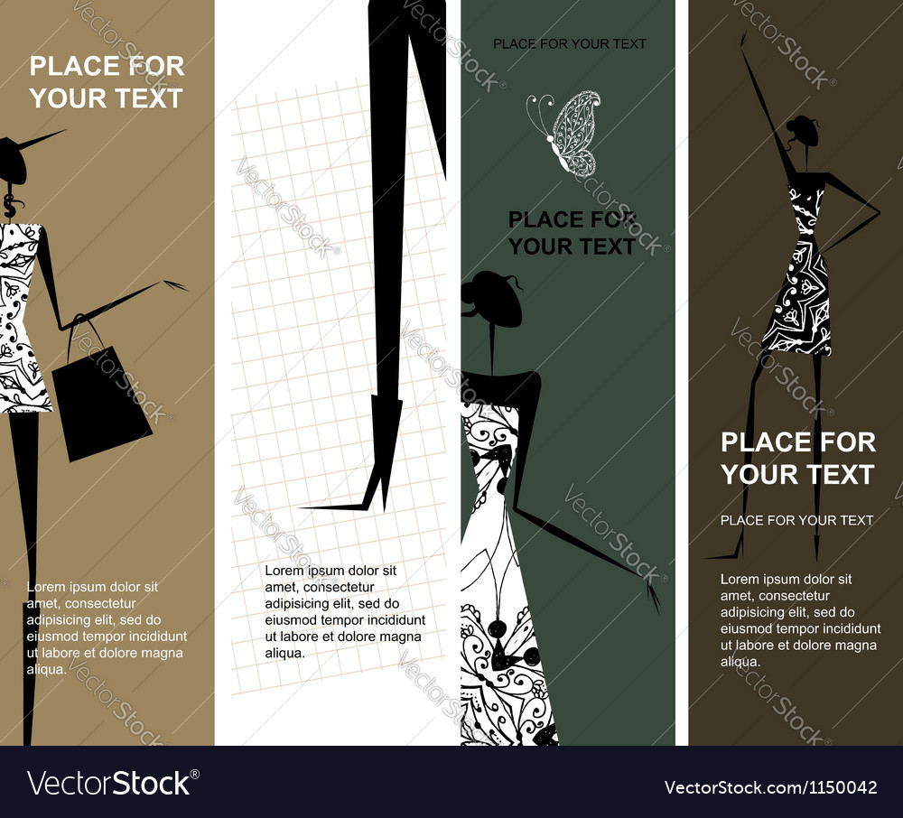 Fashion girls banners with place for your text vector