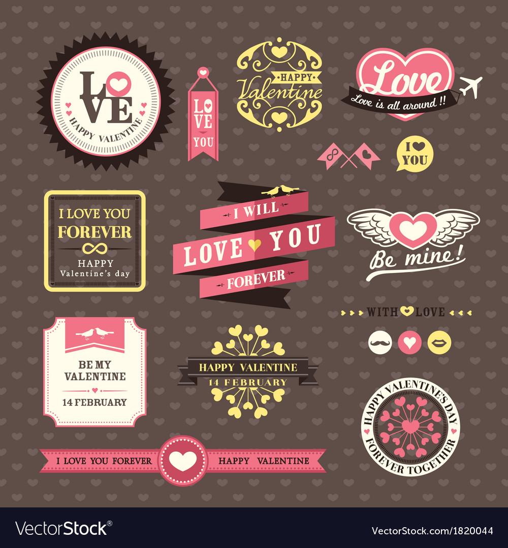 Wedding and valentines day elements frames vintage vector