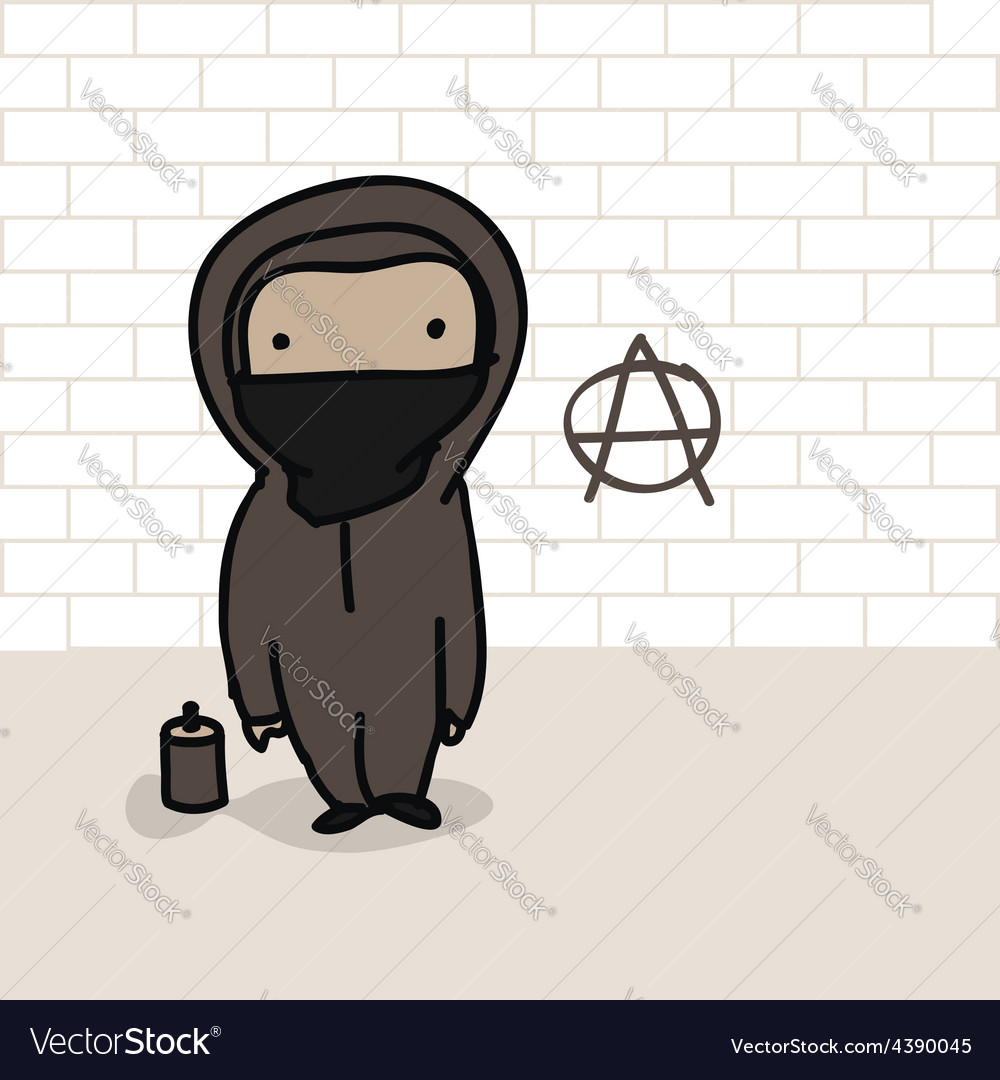 Cartoon anarchist vector