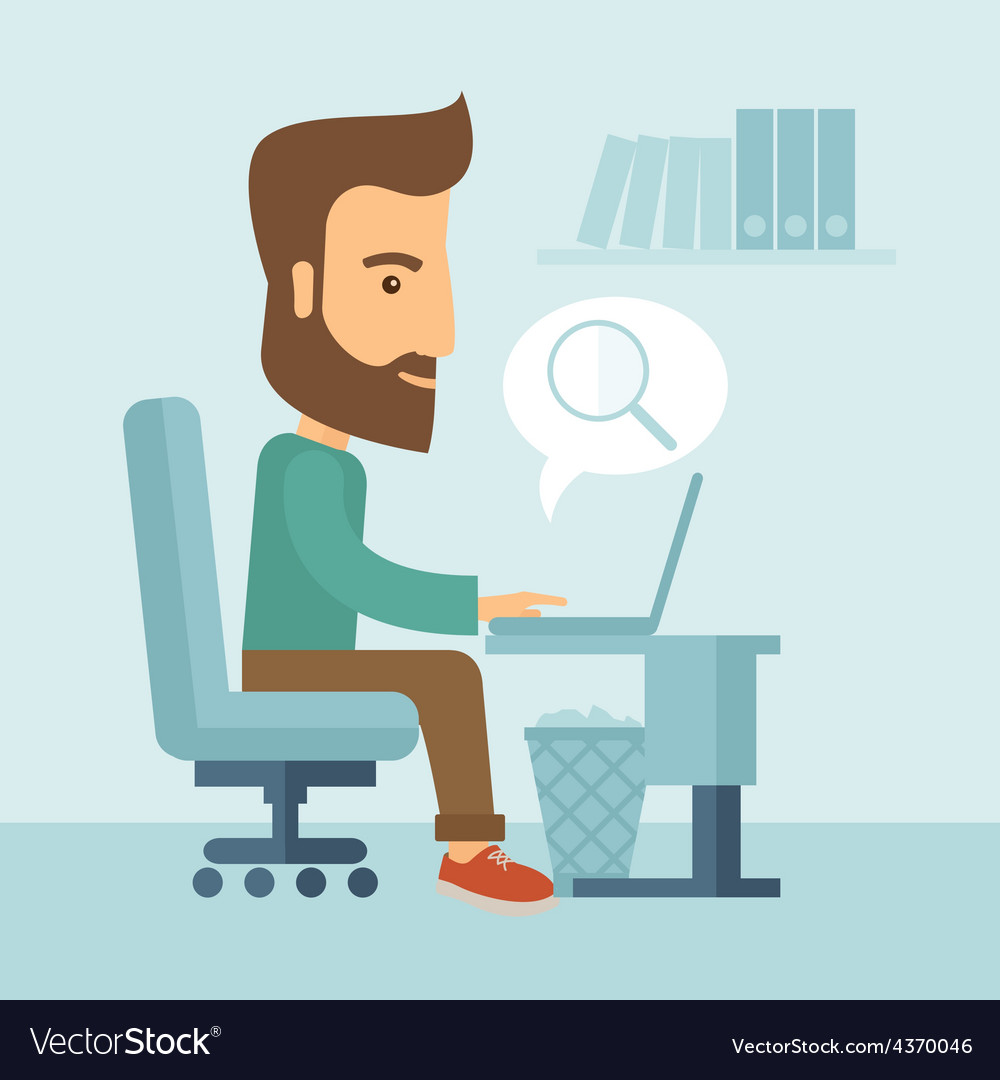 Businessman and his laptop vector