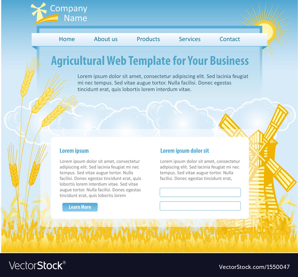Agriculture theme web design template vector