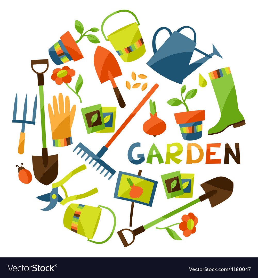 Background with garden design elements and icons vector
