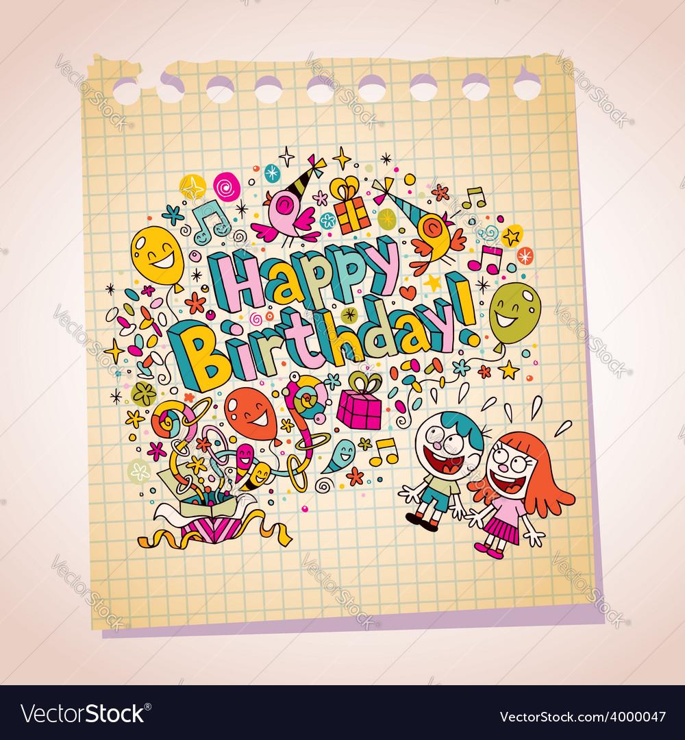 Happy birthday kids note paper cartoon vector