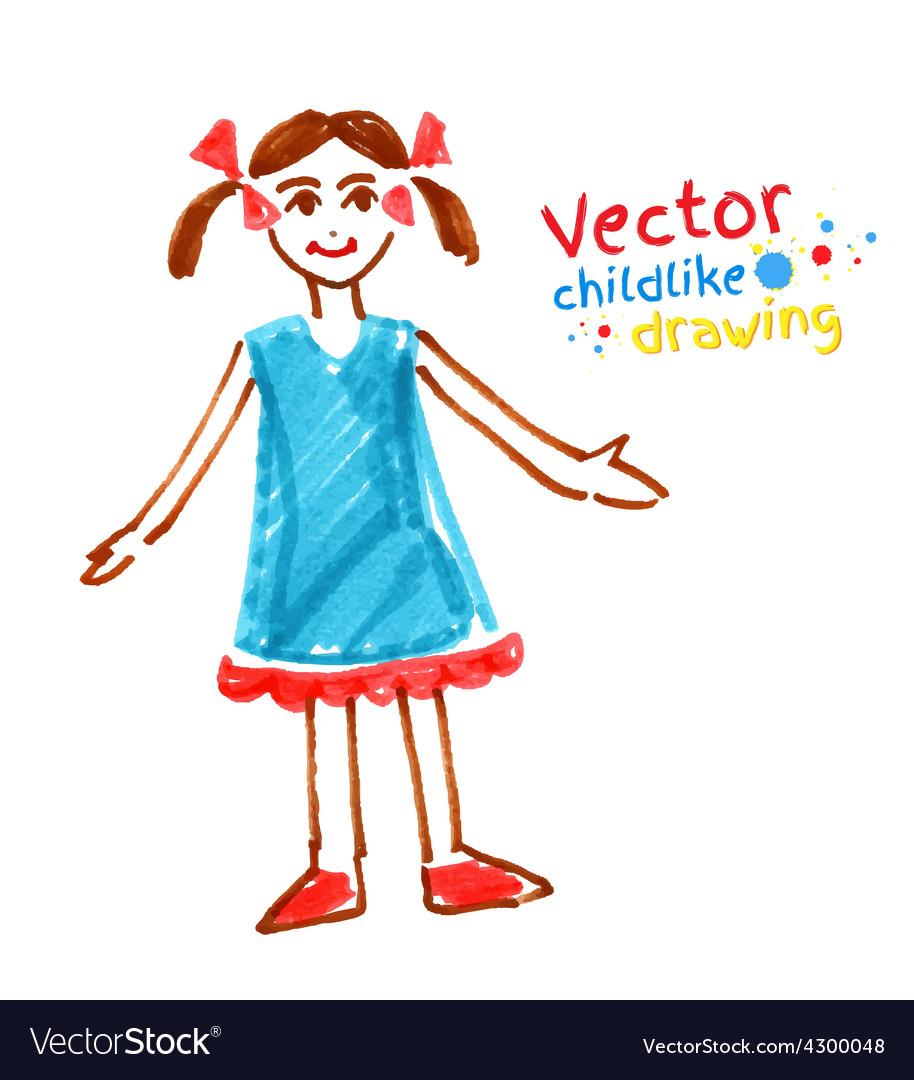 Childlike drawing of girl vector