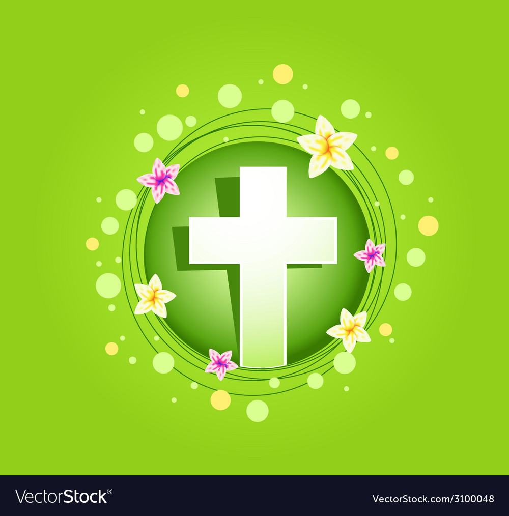 Easter religious cross spring card vector