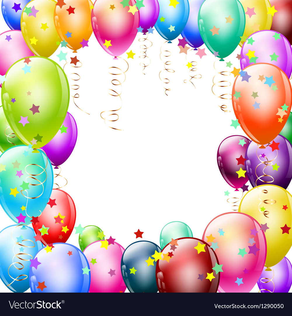 Colorful balloons frame vector