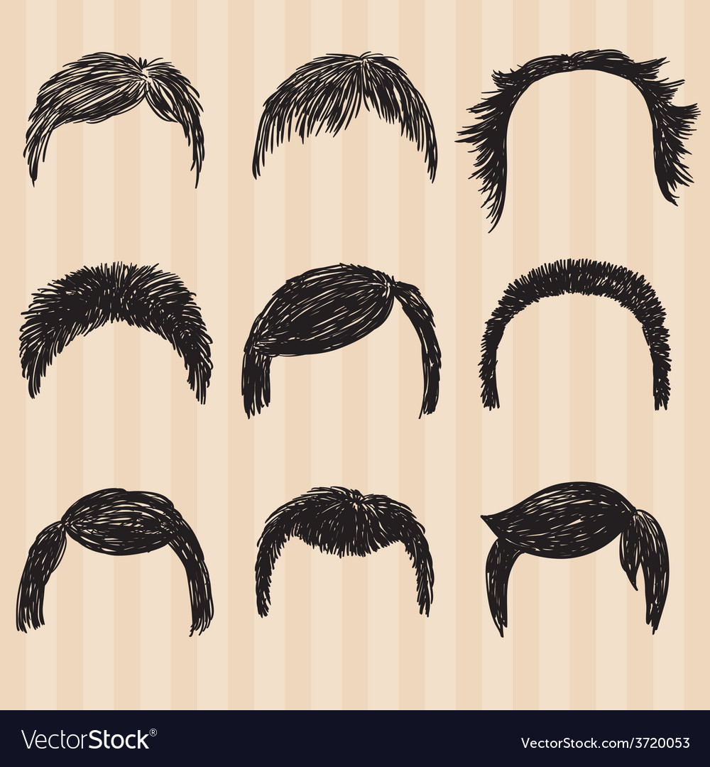 Mens collection for hair styling vector