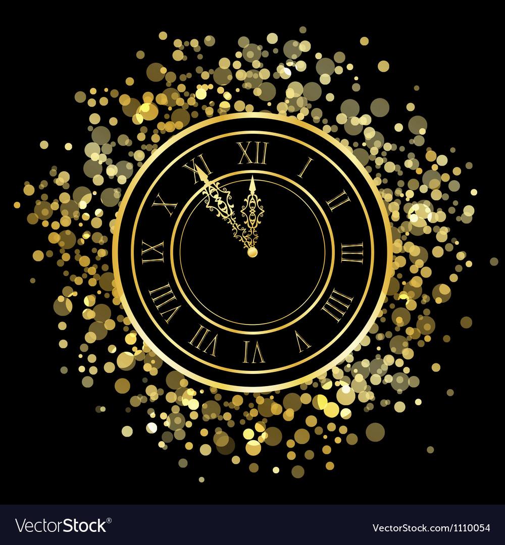Shiny new year clock vector