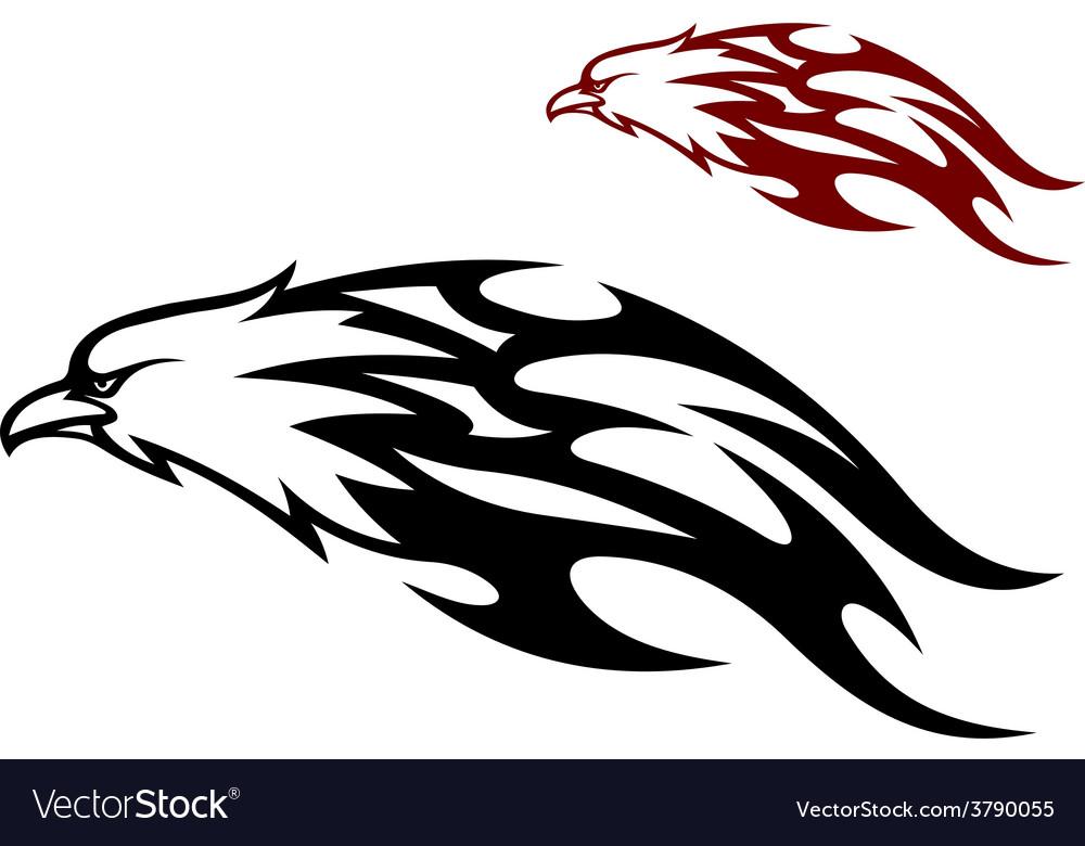 Flying eagle trailing flames vector