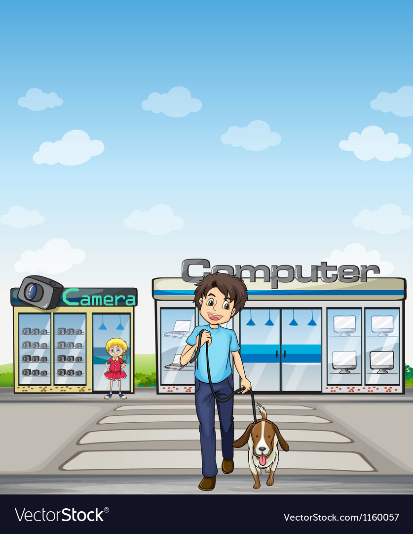 A man crossing the street with his dog vector