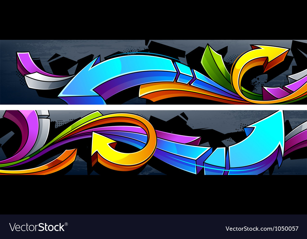 Two horizontal graffiti banners vector