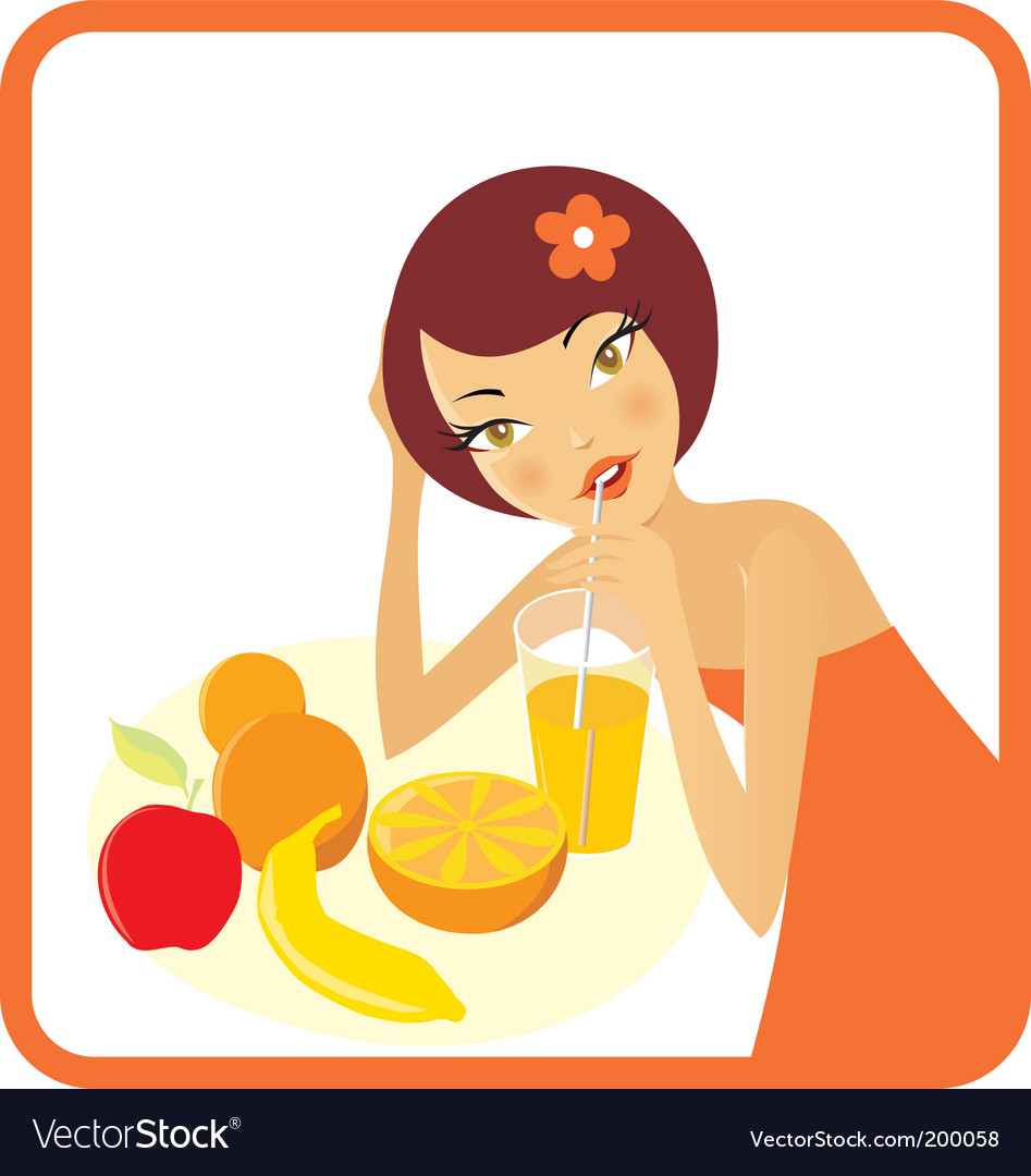 Woman with fruits and juice vector