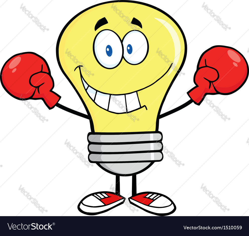 Light bulb with boxing gloves vector