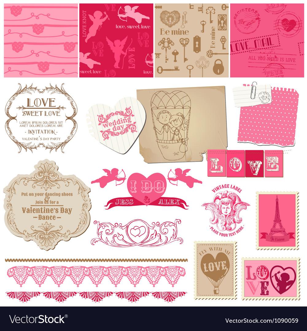 Scrapbook love set of design elements vector