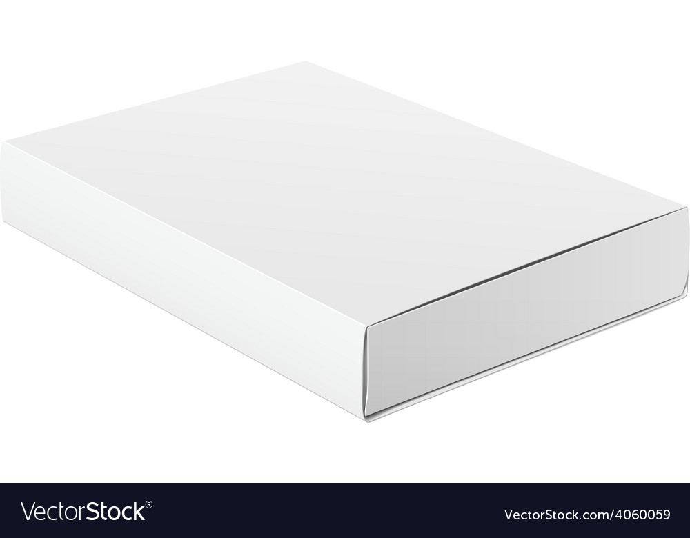 Slim white package product cardboard box vector