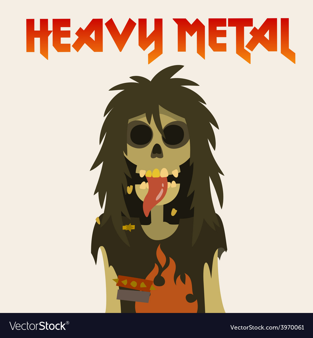Heavy metal skeleton with symbol sign of the horns vector