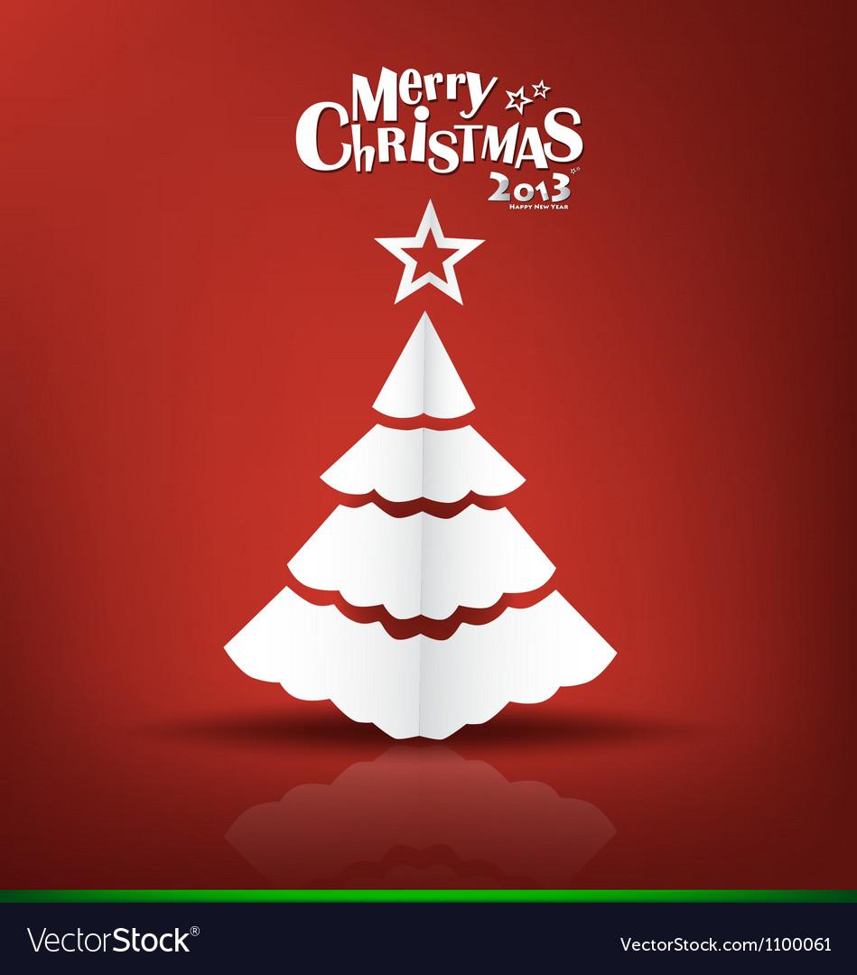 Merry christmas postcard with origami xmas tree vector