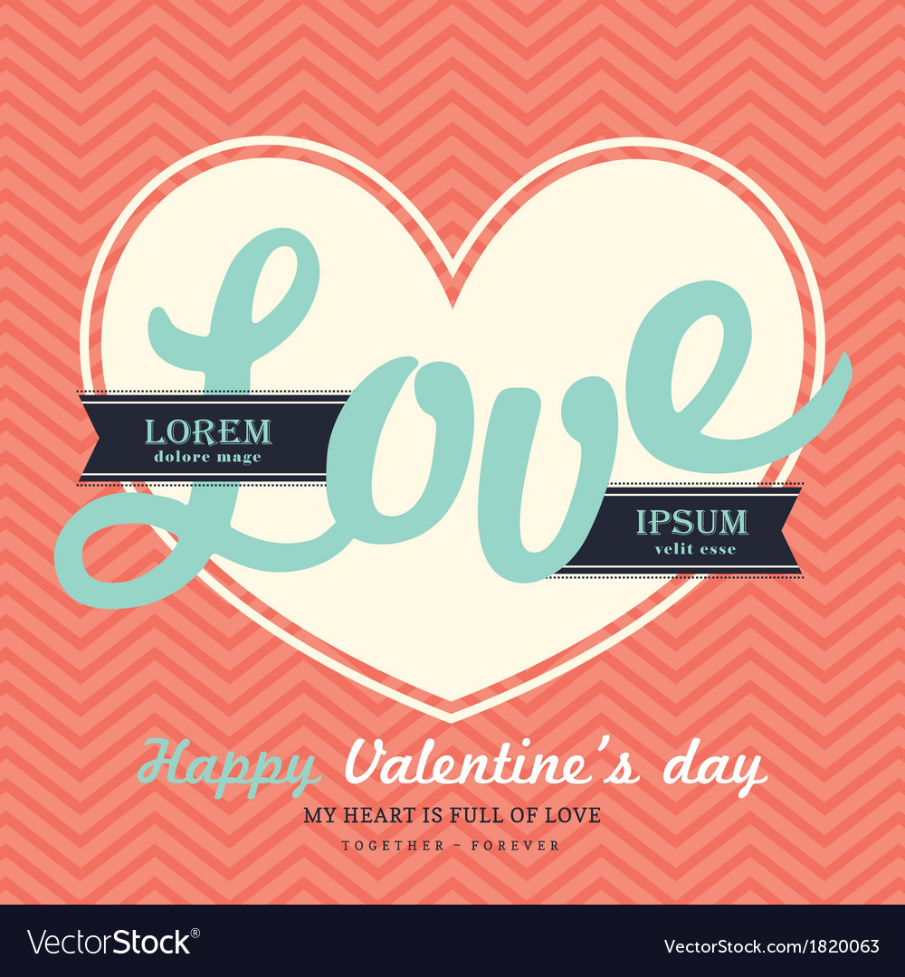 Valentines day invitation card template love word vector