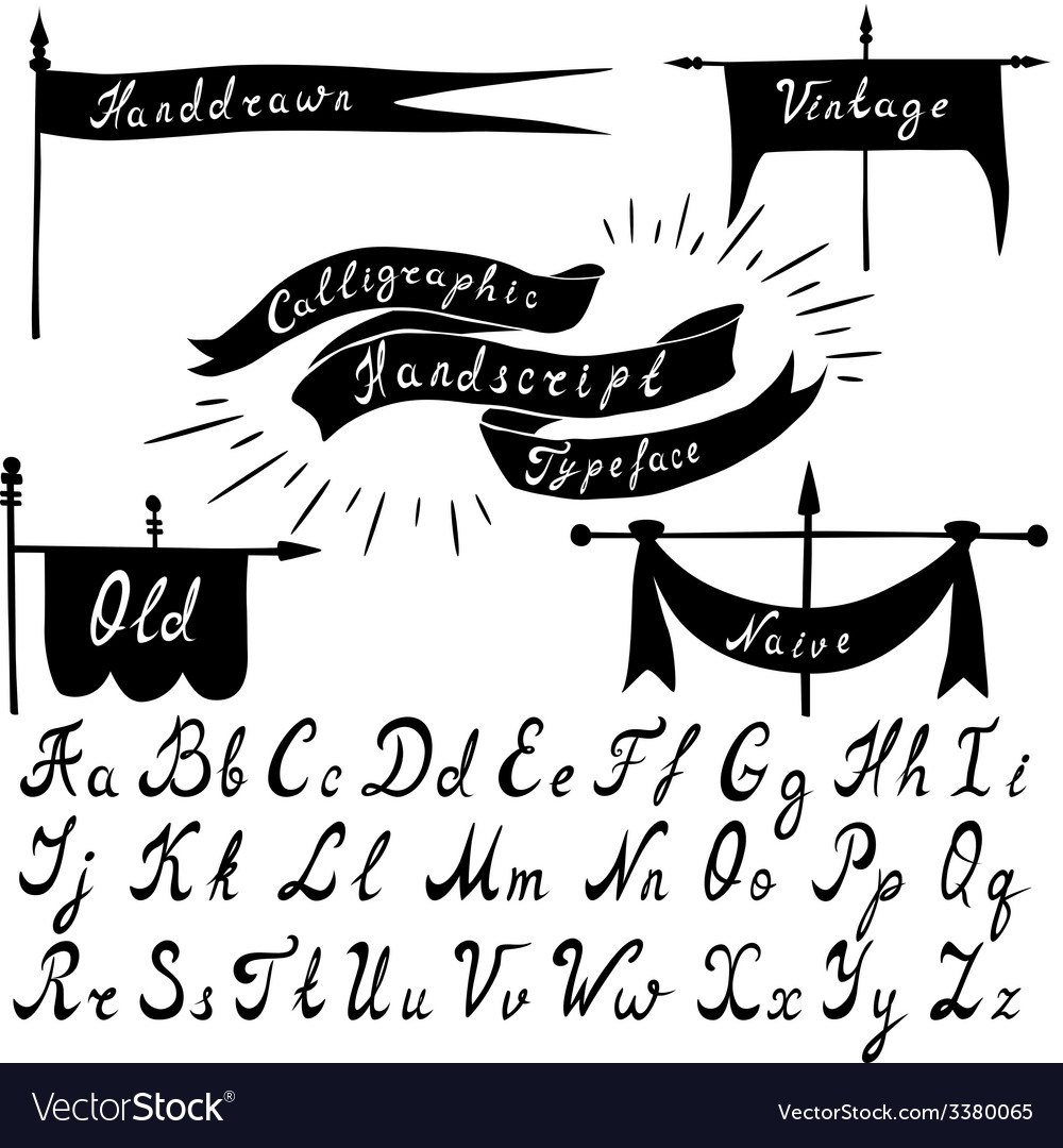 Set of calligraphic handdrawn font and vintage vector