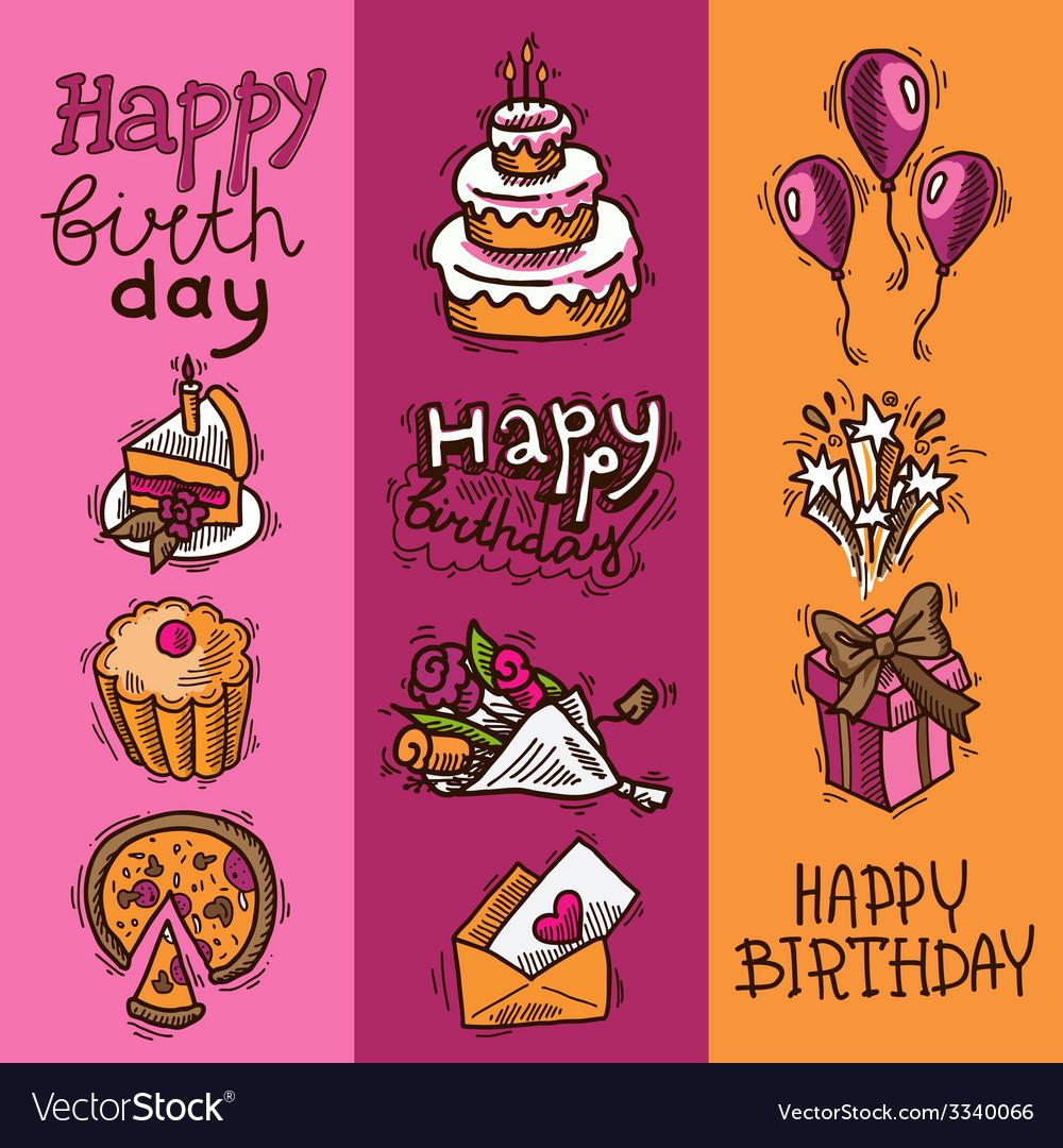 Birthday sketch banner set vector