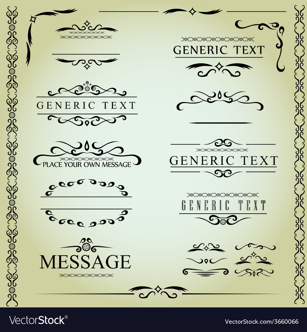 Calligraphic design elements and page decoration - vector
