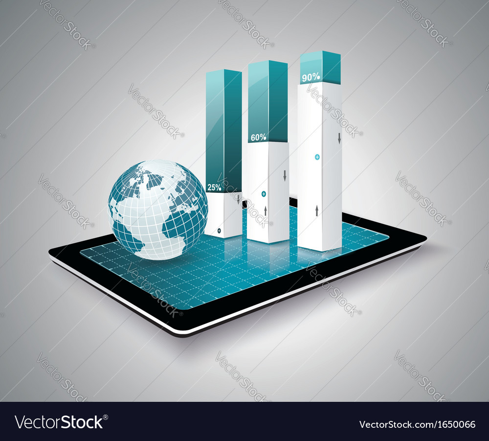 Modern infographic on tablet pc vector