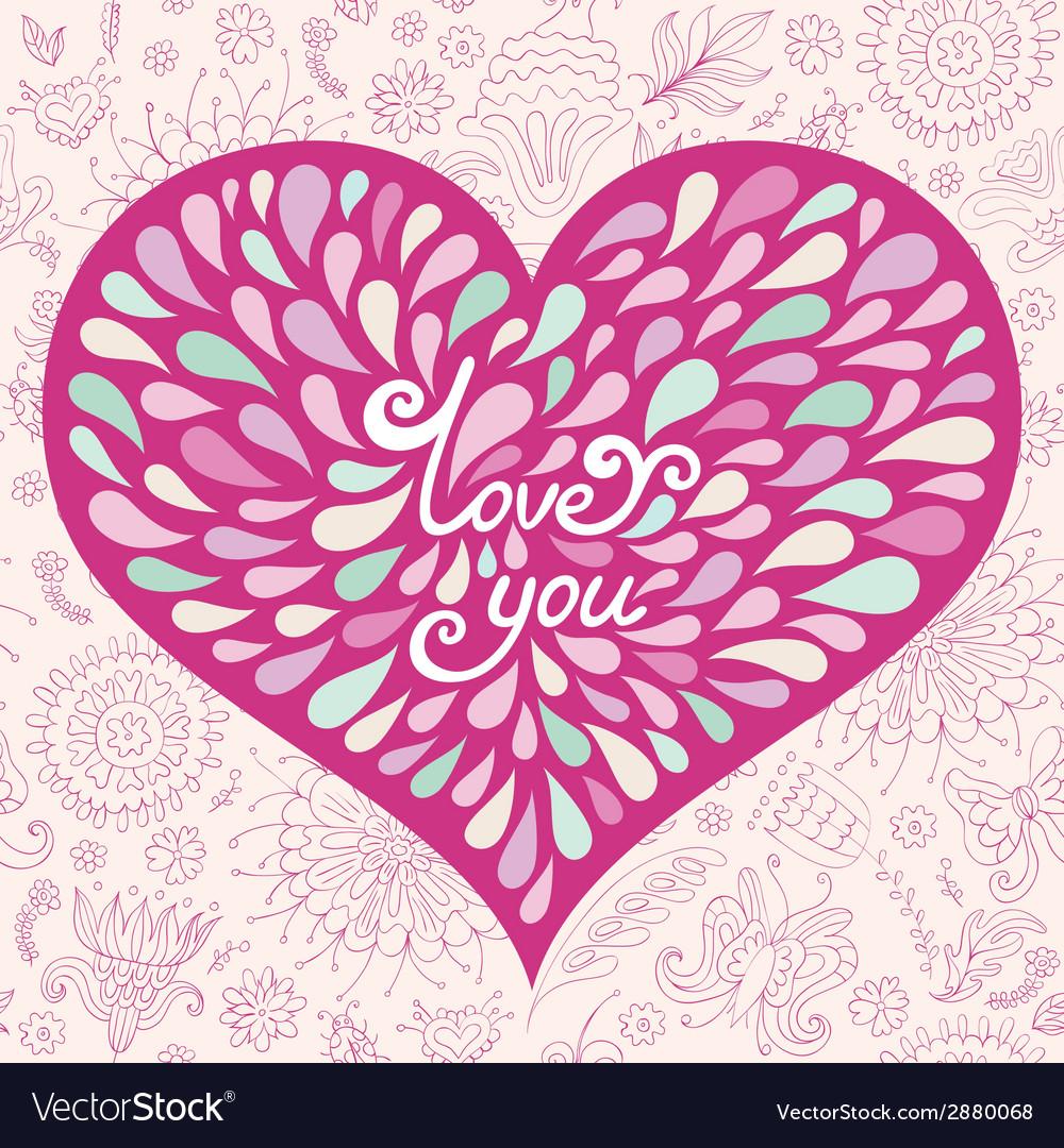 Pink valentine greeting card vector