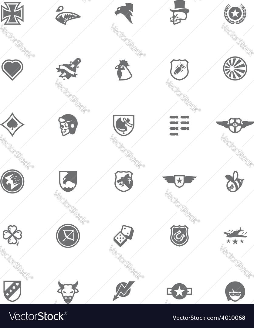 Ww2 styled military emblem set vector