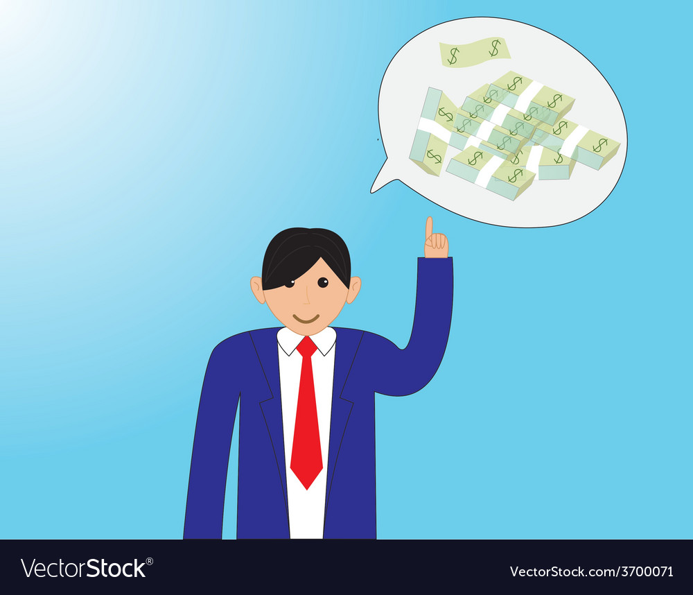 Business people with thinking money vector