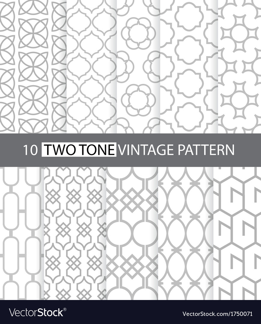 Two tone vintage style seamless pattern vector