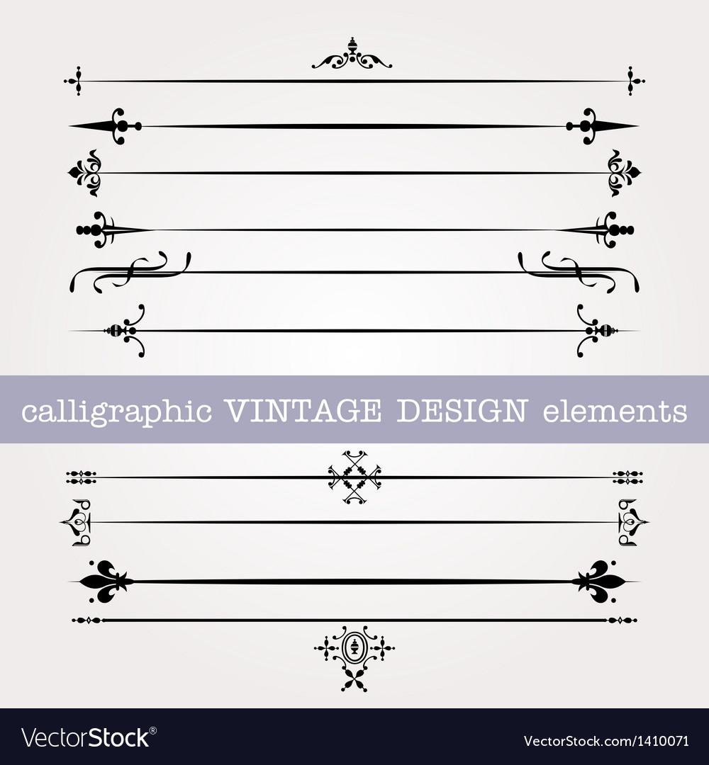 Vintage calligraphic elements vector