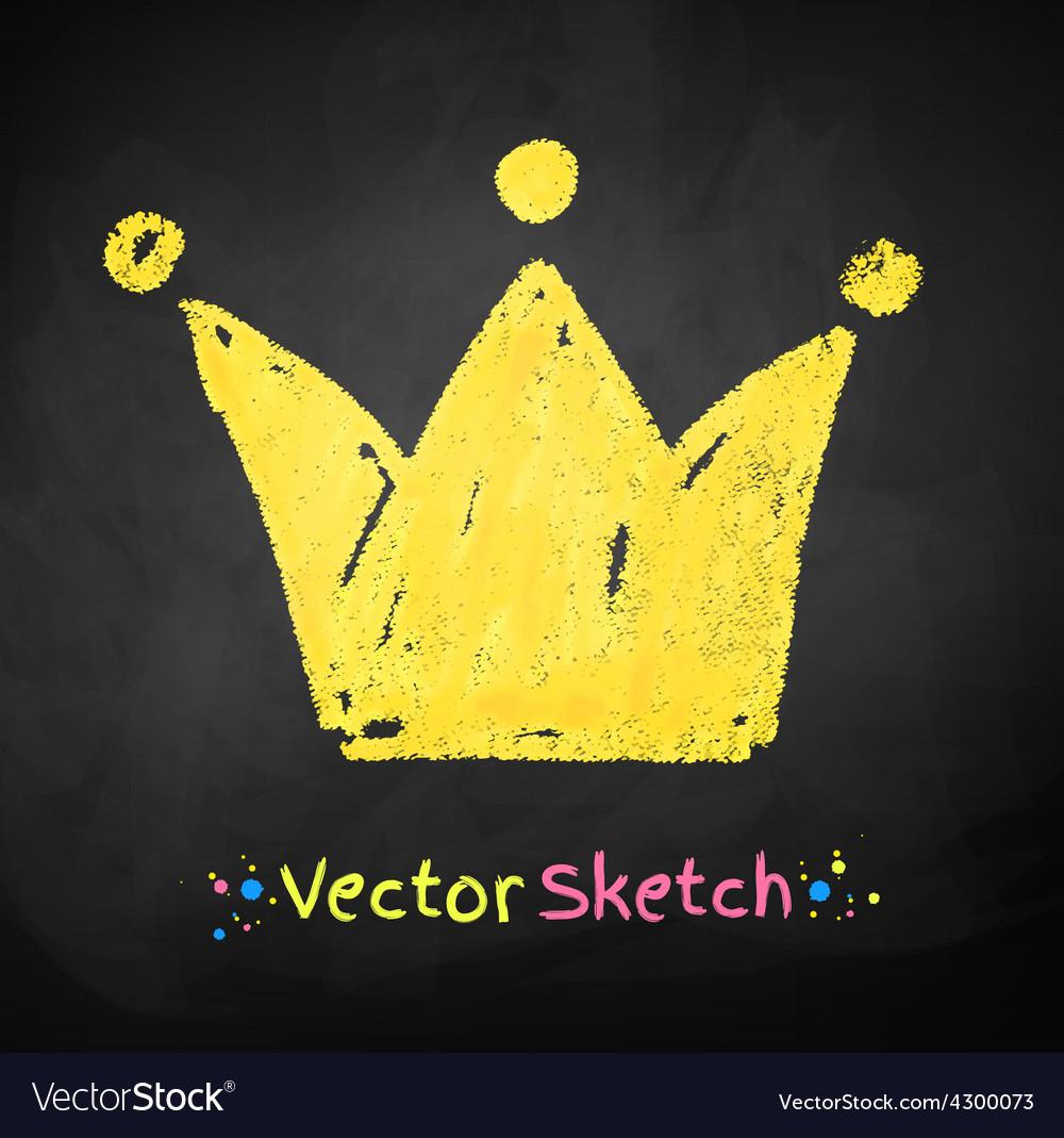 Childlike drawing of crown vector