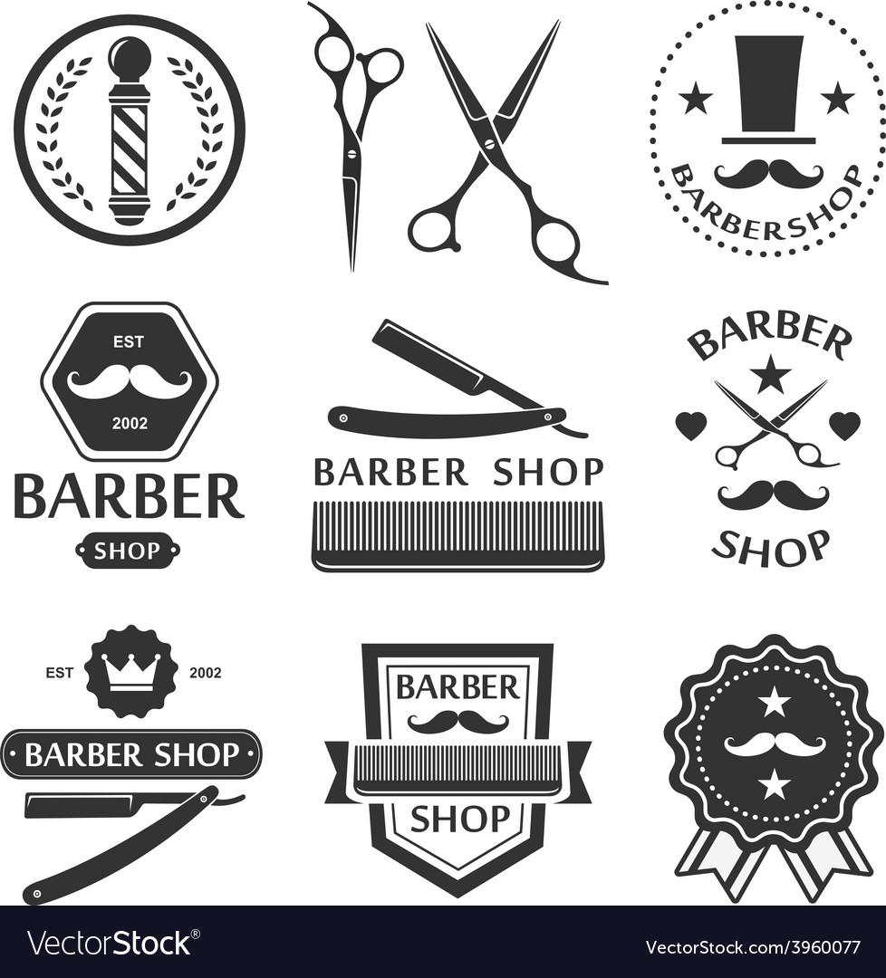 Barber shop logo labels badges vintage vector