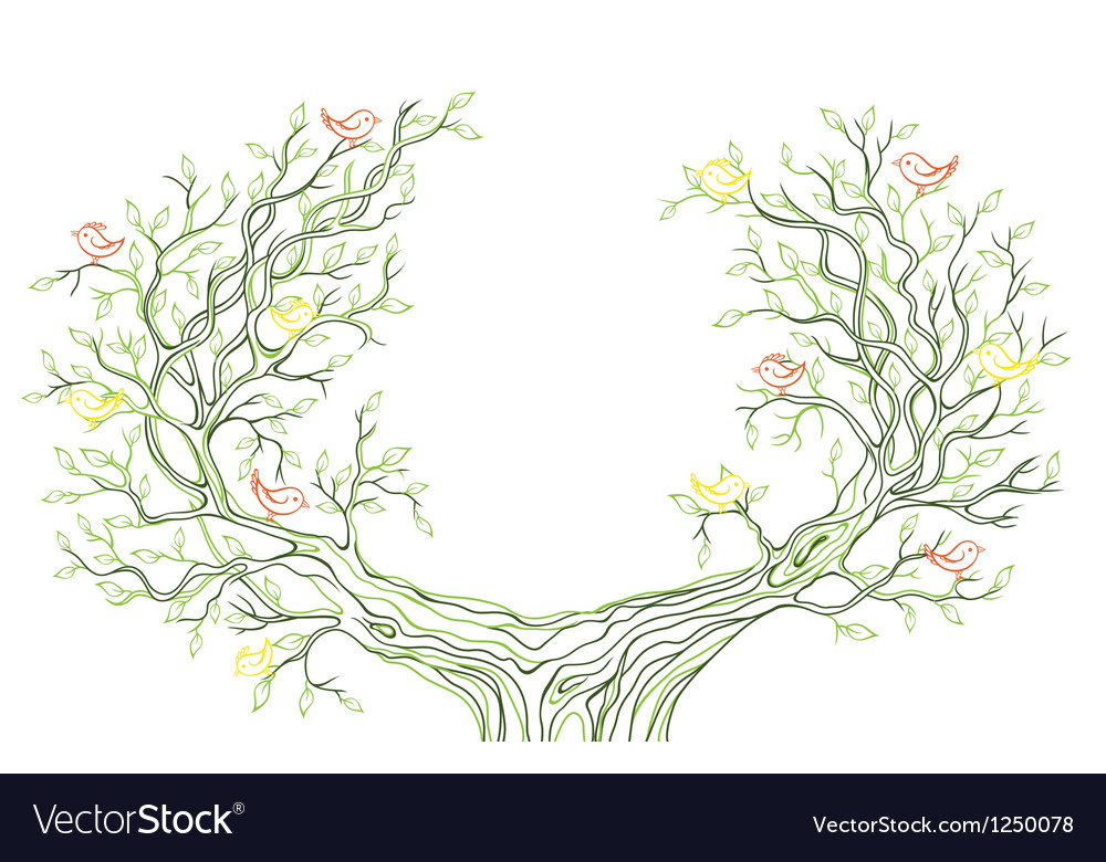 Background with green tree branches with birds vector