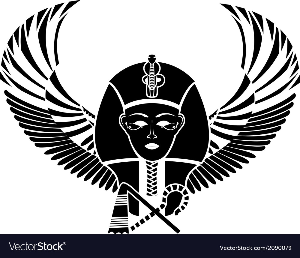 Egyptian pharaoh with wings vector