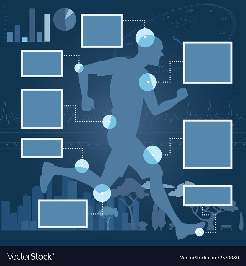 Runner health infographics layout vector