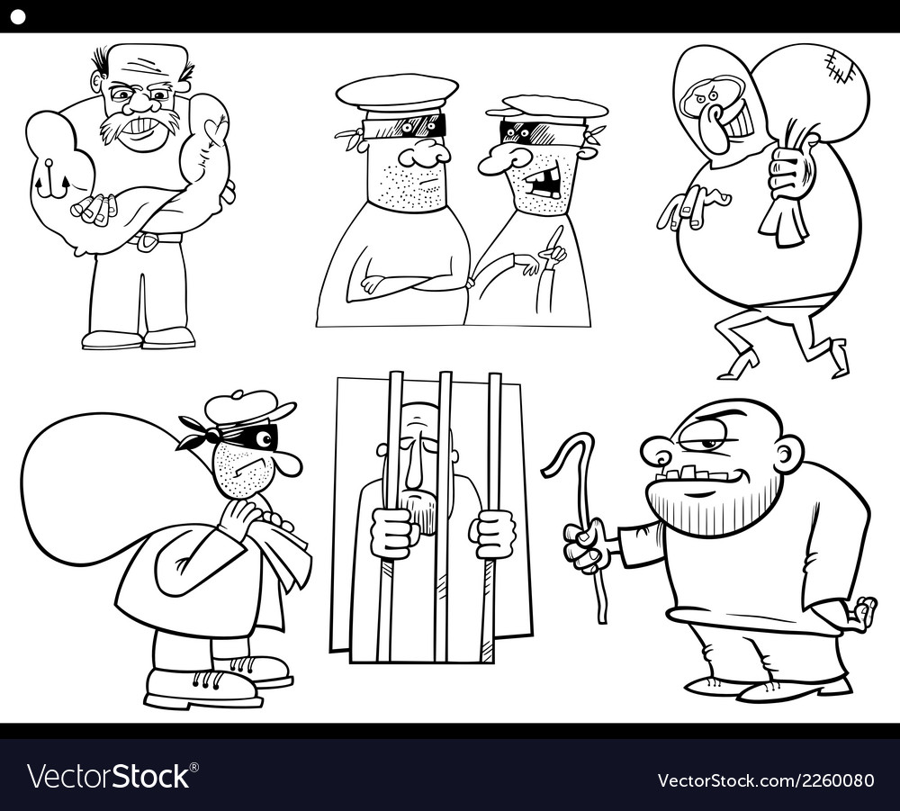 Thieves and thugs cartoon set vector