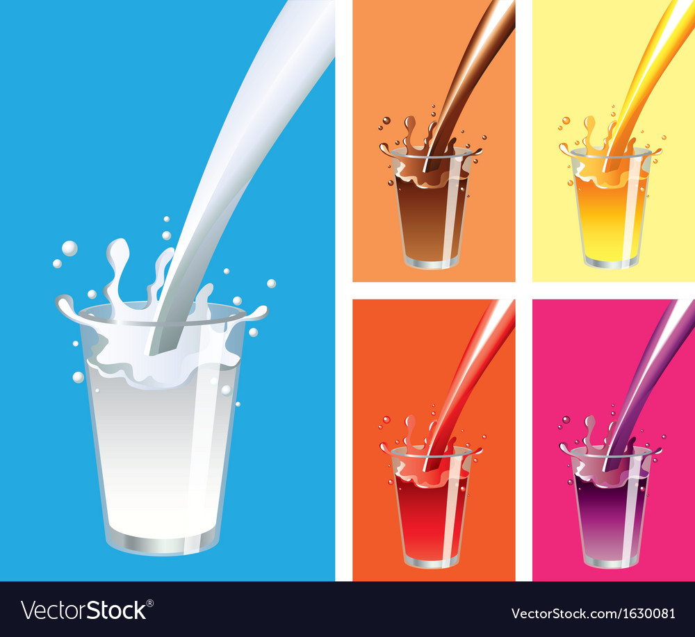 Glass milk juices vector