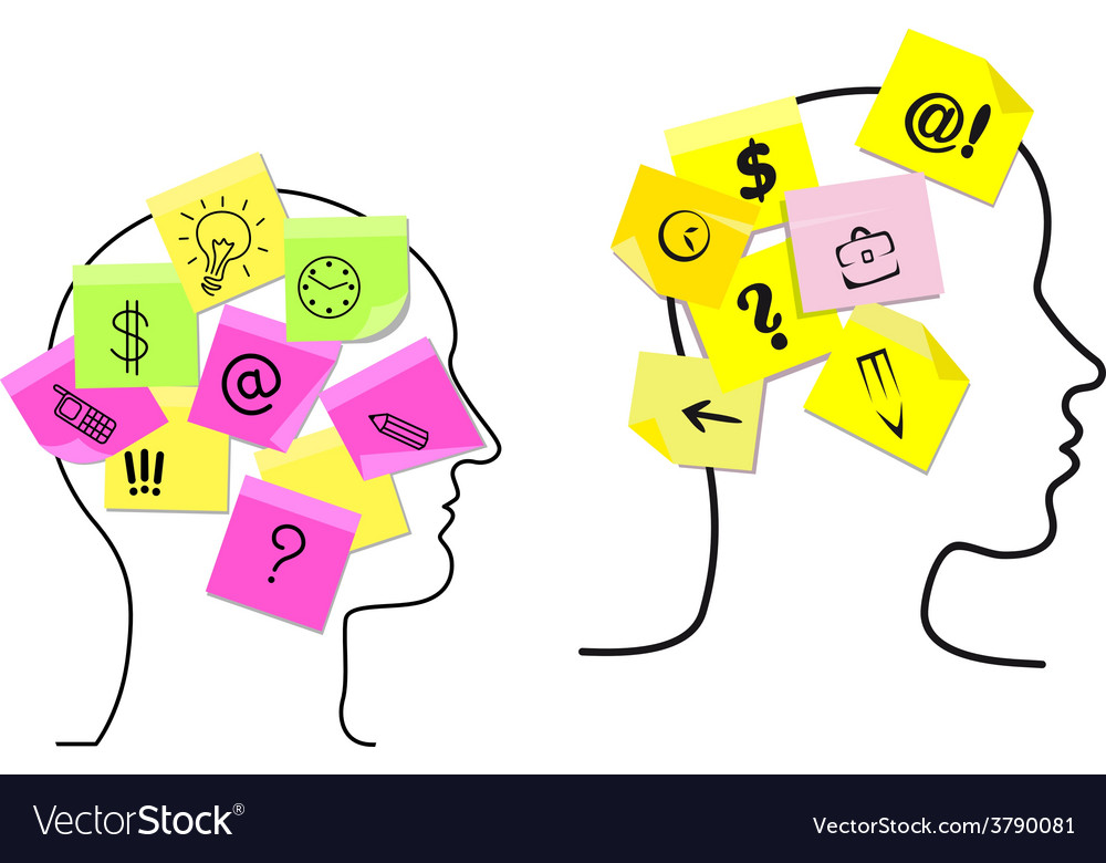 Multitasking man and woman with sticky memos vector