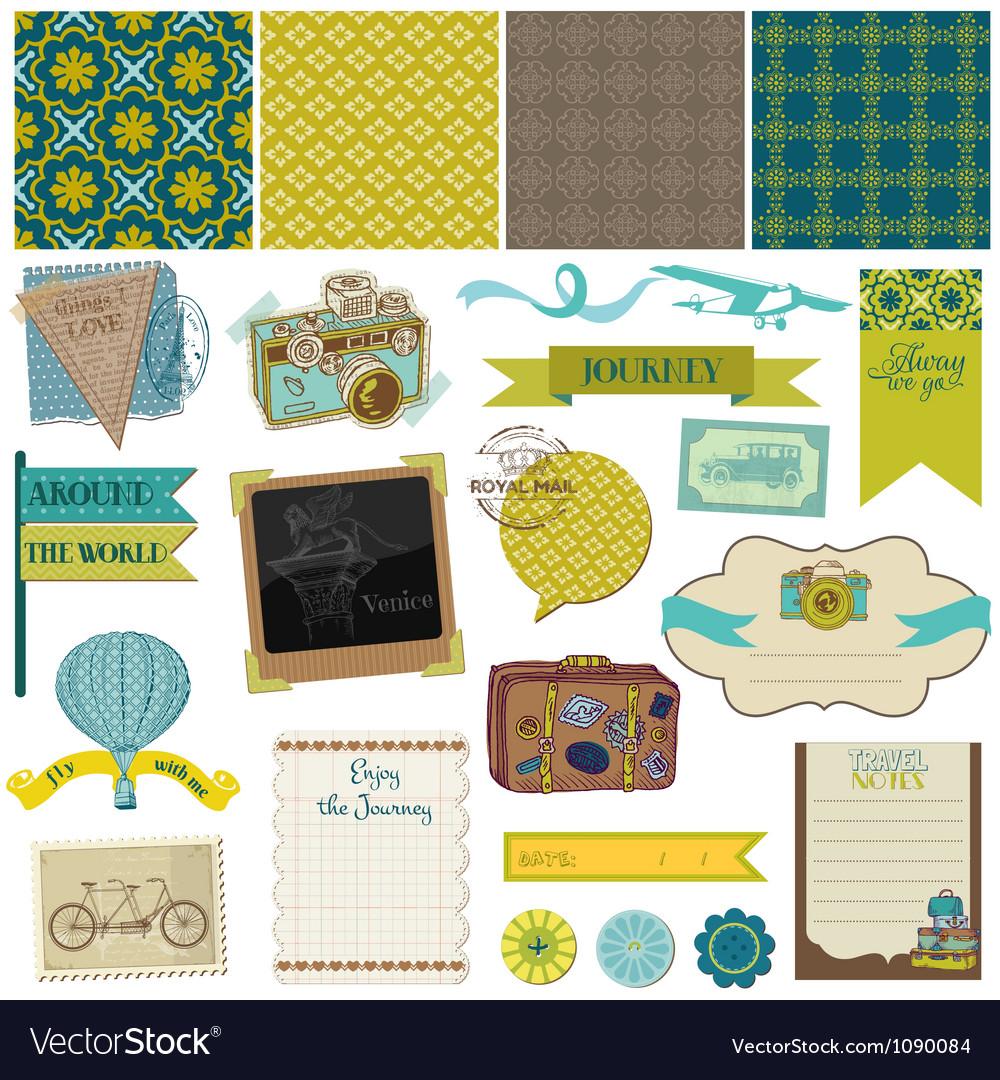 Travel set of design elements vector