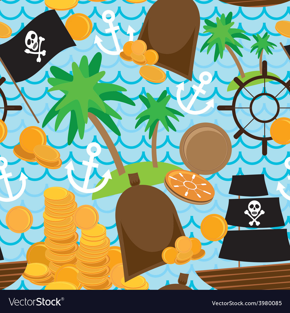 Seamless background pirate island colorful kids vector