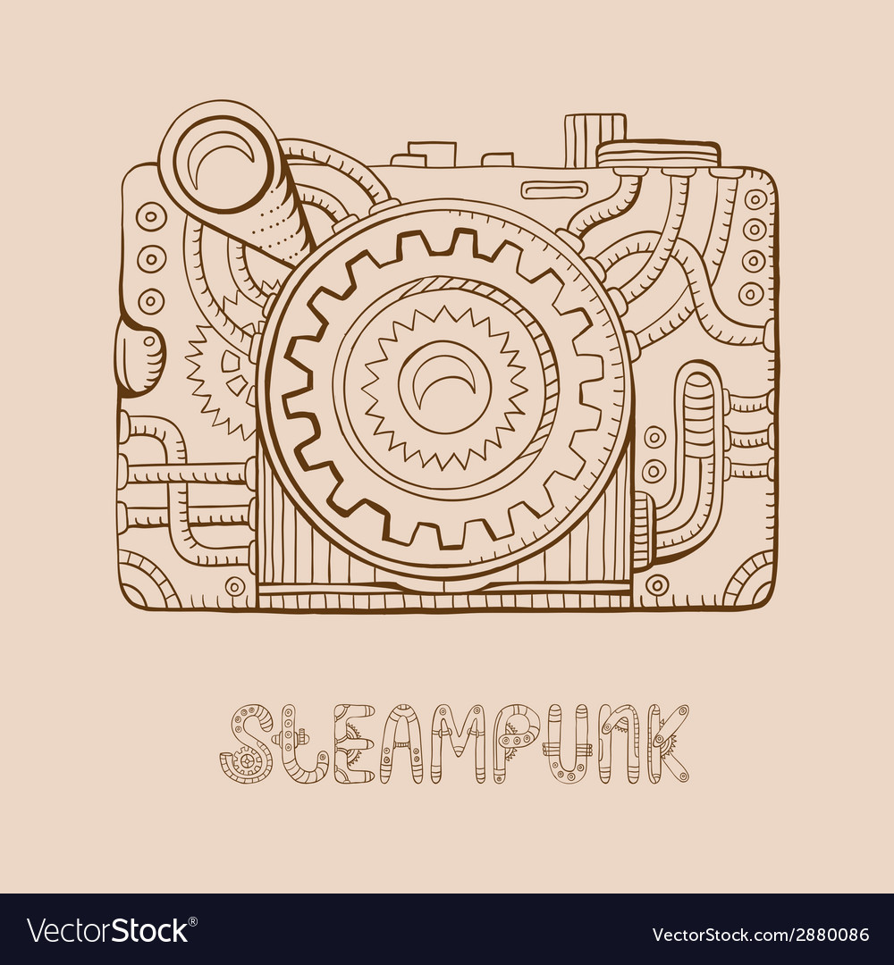 Photo camera steampunk vector