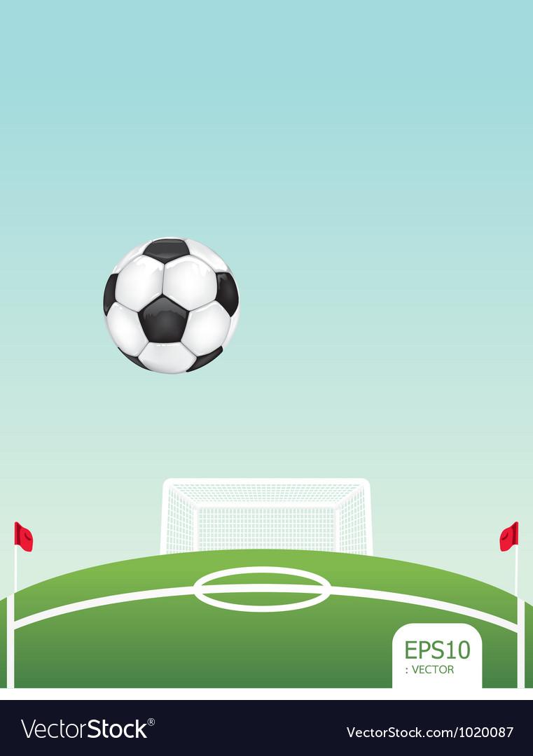 Soccer ball on stadium vector