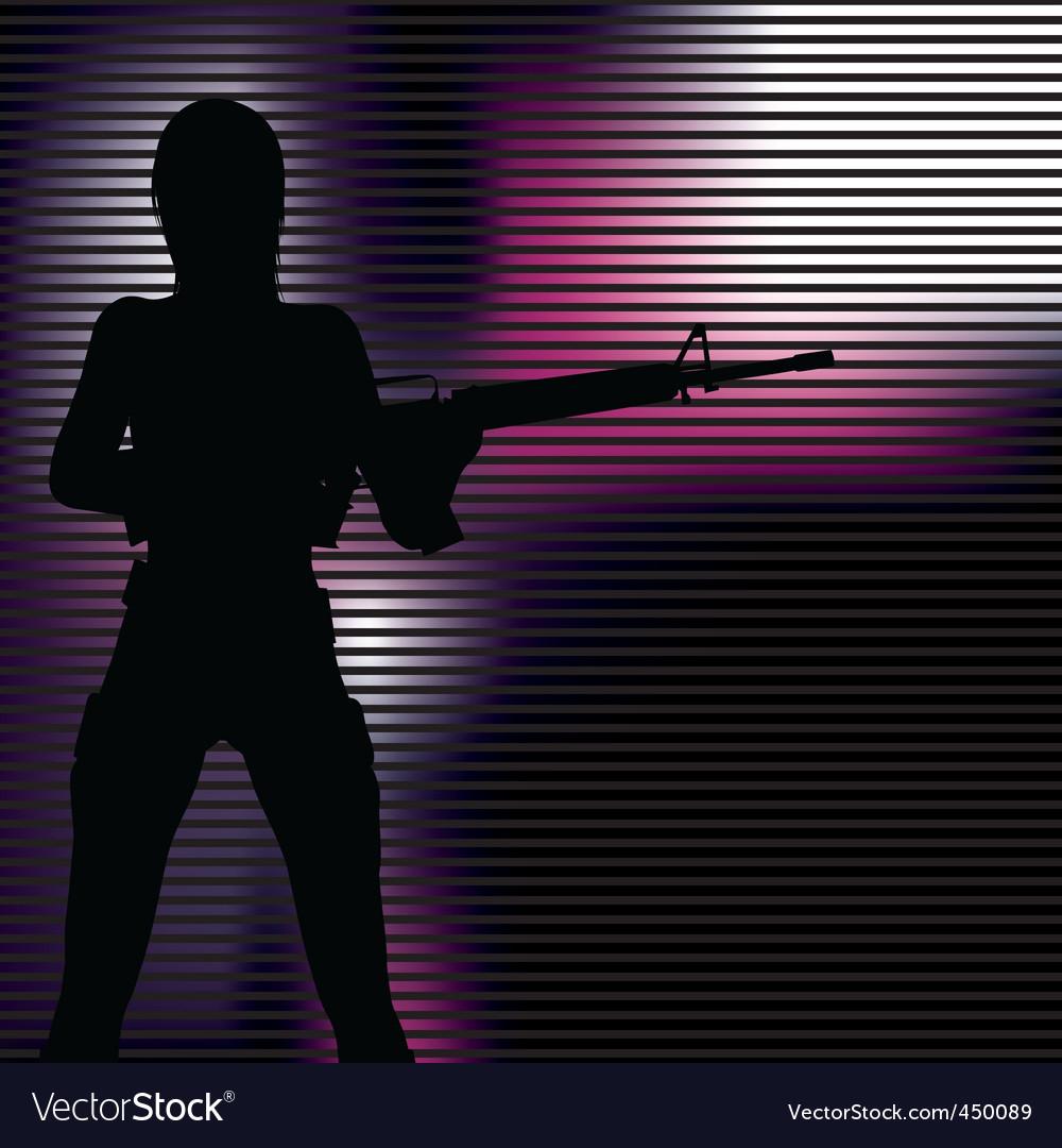 Girl with gun silhouette vector